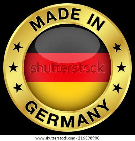 Made in Germany gold badge and icon with central glossy German flag symbol and stars. Vector EPS 10 illustration isolated on black background. - stock vector