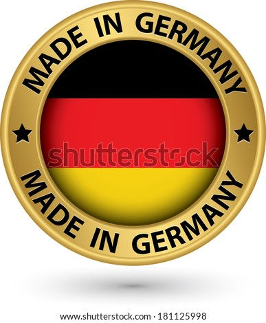 Made in Germany gold label, vector illustration - stock vector