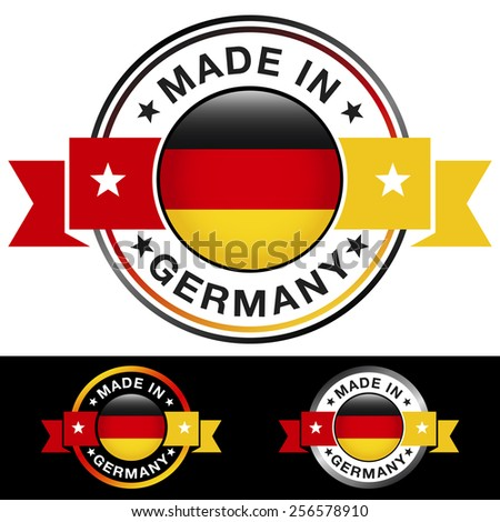 Made in Germany label and icon with ribbon and central glossy German flag symbol. Vector EPS 10 illustration with three different badge colors isolated on white and black background. - stock vector
