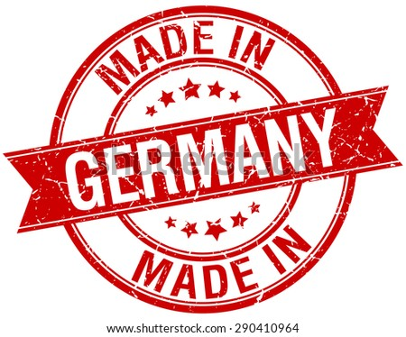 made in Germany red round vintage stamp - stock vector