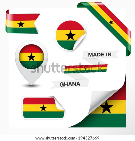 Made in ghana collection of ribbon label stickers pointer badge icon