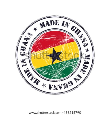 Made in Ghana grunge rubber stamp with flag - stock vector