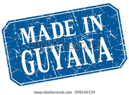 made in Guyana blue square grunge stamp