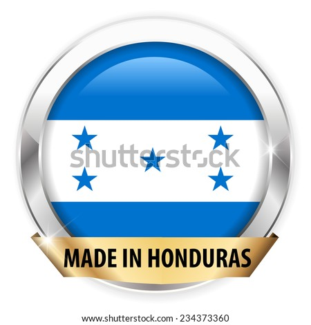 made in honduras silver badge isolated button on white background - vector eps10