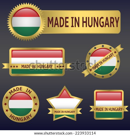 made in Hungary labels and stickers. Vector illustration. - stock vector