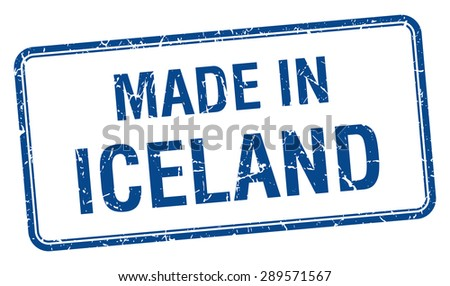 made in Iceland blue square isolated stamp