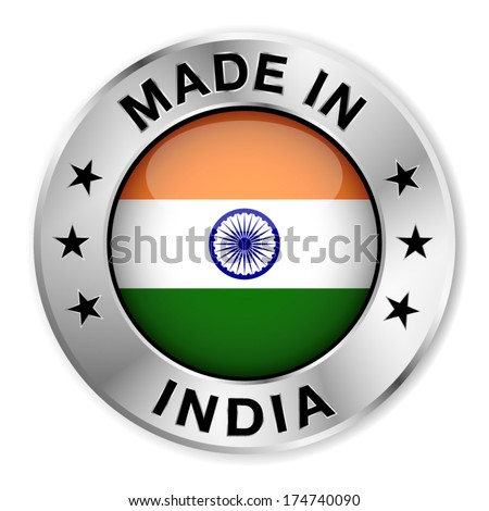 Made in India silver badge and icon with central glossy Indian flag symbol and stars. Vector EPS10 illustration isolated on white background.