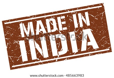 made in India stamp. India grunge vintage isolated square stamp. made in India