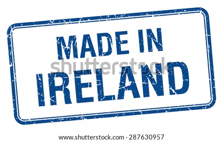 made in Ireland blue square isolated stamp