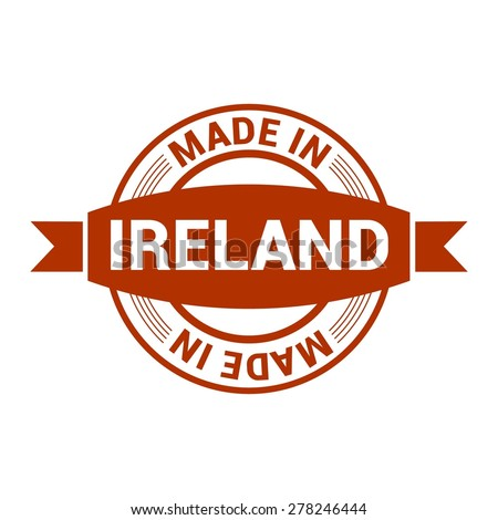 Made in Ireland. Round red rubber stamp design isolated on white background. vector illustration vintage texture.