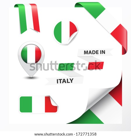 Made in Italy collection of ribbon, label, stickers, pointer, badge, icon and page curl with Italian flag symbol. Vector EPS10 illustration isolated on white background. - stock vector