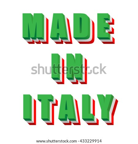 Made in Italy, flag font, vector - stock vector