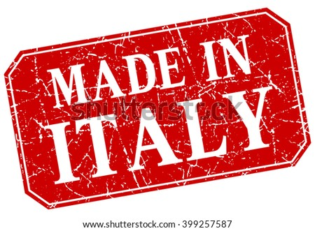 made in Italy red square grunge stamp