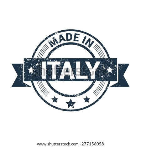 Made in Italy . Round red grunge rubber stamp design isolated on white background. With vintage texture. vector illustration - stock vector