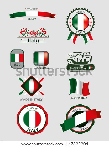 Made in Italy, Seals, Flags - stock vector
