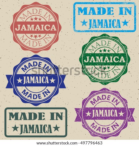 made in Jamaica vintage stamp Set vector illustration.