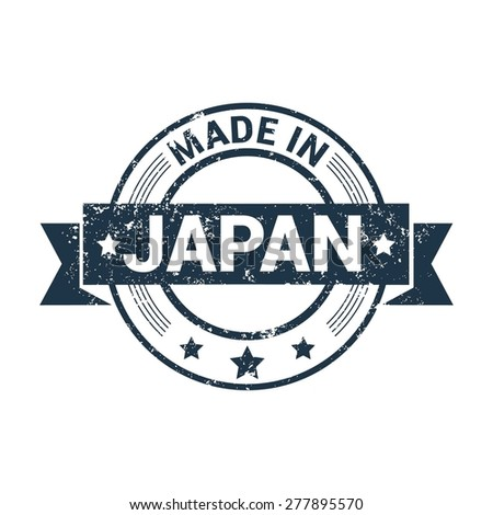 Made in Japan - Round blue grunge rubber stamp design isolated on white background. vector illustration vintage texture. - stock vector