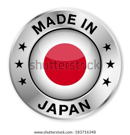 Made in Japan silver badge and icon with central glossy Japanese flag symbol and stars. Vector EPS 10 illustration isolated on white background. - stock vector