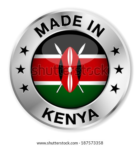 Made in Kenya silver badge and icon with central glossy Kenyan flag symbol and stars. Vector EPS 10 illustration isolated on white background. - stock vector
