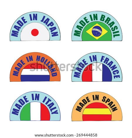 Made in label set - Japan, Brazil, Holland, France, Italy, Spain - stock vector