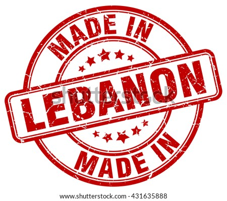 made in Lebanon red round vintage stamp.Lebanon stamp.Lebanon seal.Lebanon tag.Lebanon.Lebanon sign.Lebanon.Lebanon label.stamp.made.in.made in. - stock vector