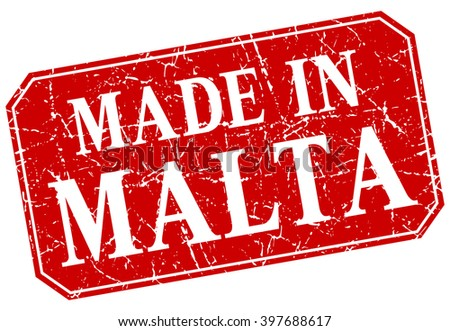 made in Malta red square grunge stamp