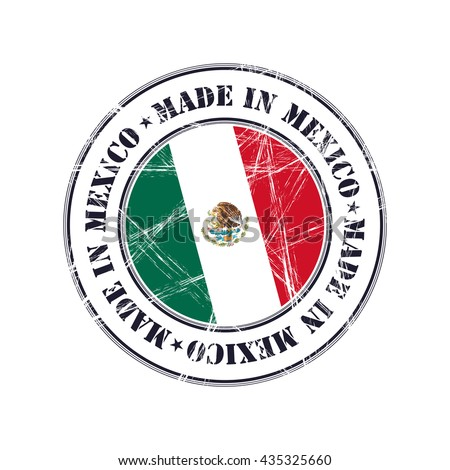 Made in Mexico grunge rubber stamp with flag - stock vector