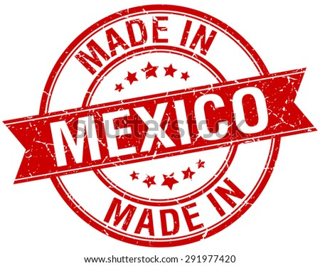 made in Mexico red round vintage stamp - stock vector
