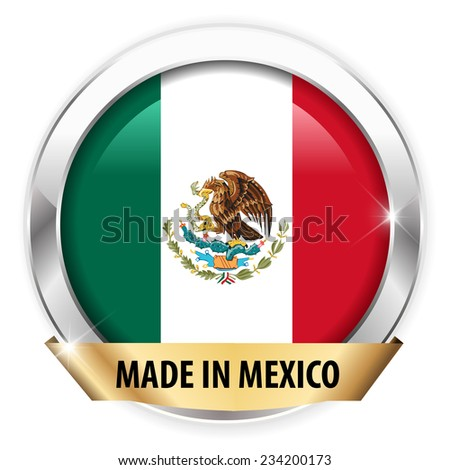 made in mexico silver badge isolated button on white background - vector eps10