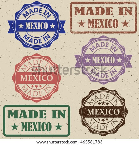 made in Mexico stamp vector illustration set.