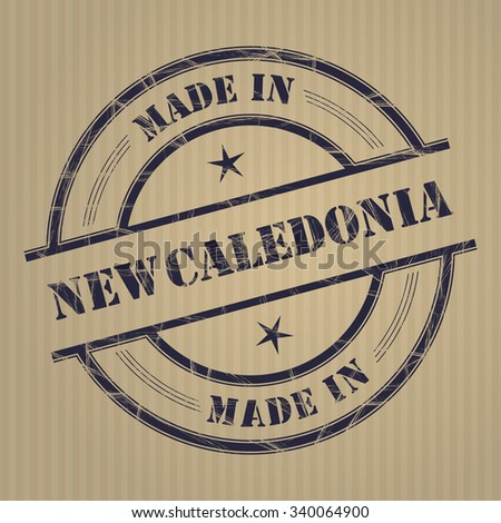 """Made in """"New Caledonia"""" grunge rubber stamp - stock vector"""