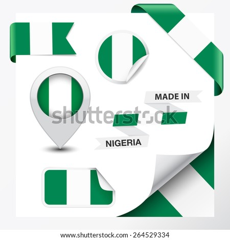 Made in Nigeria collection of ribbon, label, stickers, pointer, badge, icon and page curl with Nigerian flag symbol on design element, vector EPS 10 illustration. - stock vector