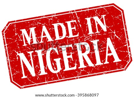 made in Nigeria red square grunge stamp