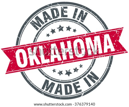 made in Oklahoma red round vintage stamp - stock vector