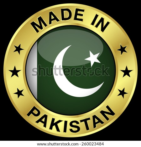 Made in Pakistan gold badge and icon with central glossy Pakistani flag symbol and stars. Vector EPS 10 illustration isolated on black background. - stock vector
