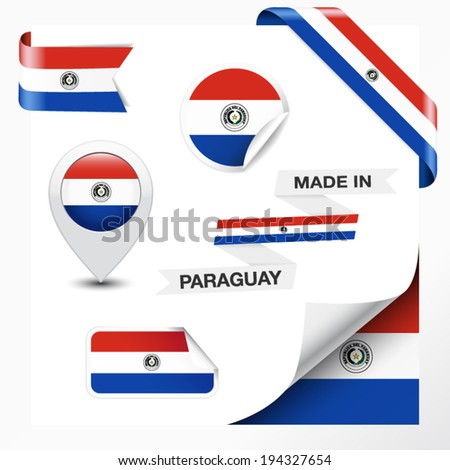 Made in Paraguay collection of ribbon, label, stickers, pointer, badge, icon and page curl with Paraguayan flag symbol on design element. Vector EPS 10 illustration isolated on white background. - stock vector