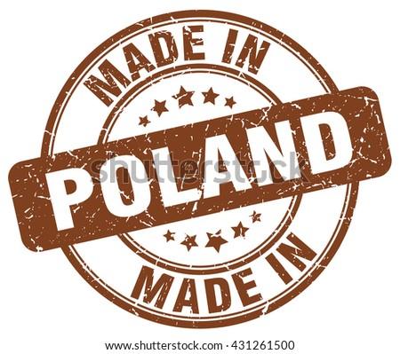made in Poland brown round vintage stamp.Poland stamp.Poland seal.Poland tag.Poland.Poland sign.Poland.Poland label.stamp.made.in.made in. - stock vector