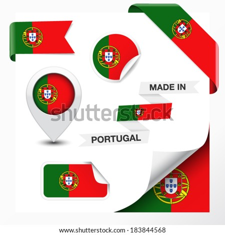 Made in Portugal collection of ribbon, label, stickers, pointer, icon and page curl with Portuguese flag symbol on design element. Vector EPS 10 illustration isolated on white background. - stock vector