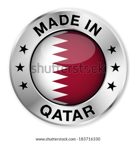 Made in Qatar silver badge and icon with central glossy Qatari flag symbol and stars. Vector EPS 10 illustration isolated on white background. - stock vector