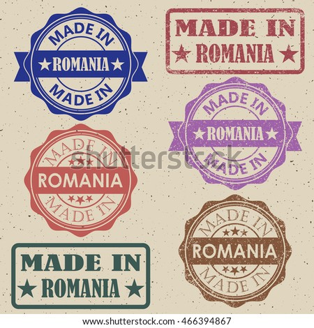 made in Romania red round vintage stamp