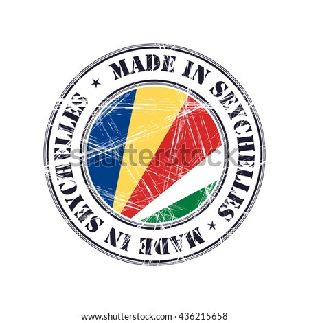 Made in Seychelles grunge rubber stamp with flag - stock vector