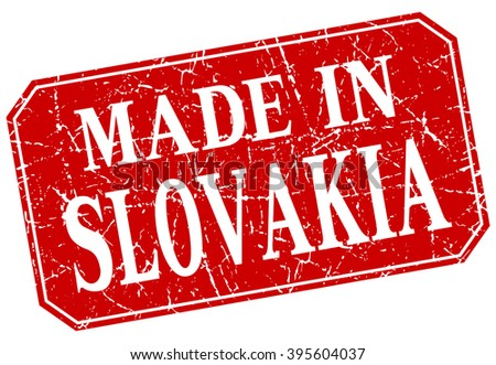 made in Slovakia red square grunge stamp