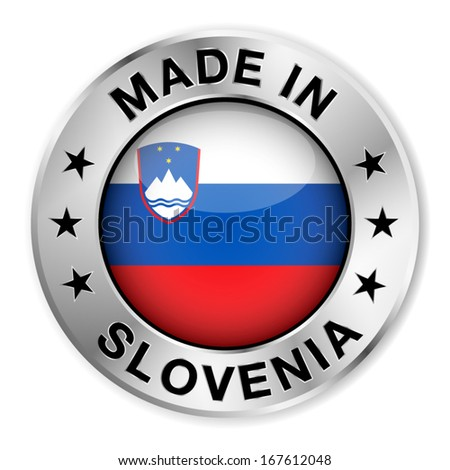 Made in Slovenia silver badge and icon with central glossy Slovenian flag symbol and stars. Vector EPS10 illustration isolated on white background.