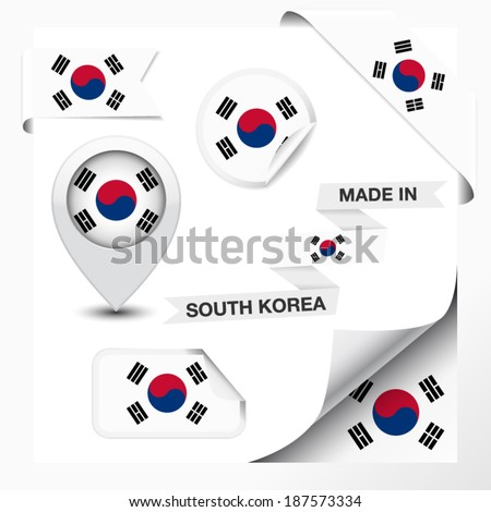 Made in South Korea collection of ribbon, label, stickers, pointer, badge, icon and page curl with South Korean flag symbol on design element. Vector EPS 10 illustration isolated on white background. - stock vector