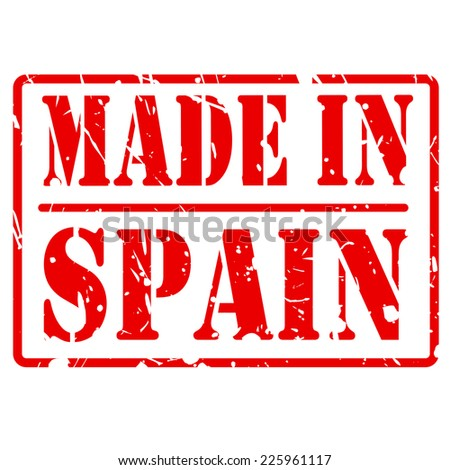 Made in spain red stamp text on white