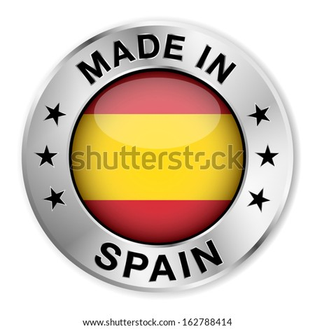 Made in Spain silver badge and icon with central glossy Spanish flag symbol and stars. Vector EPS10 illustration isolated on white background.