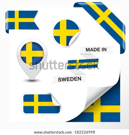 Made in Sweden collection of ribbon, label, stickers, pointer, badge, icon and page curl with Swedish flag symbol on design element. Vector EPS 10 illustration isolated on white background. - stock vector