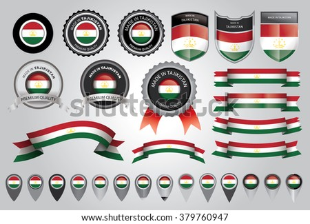 Made in Tajikistan Seal, Tajik Flag (Vector Art)