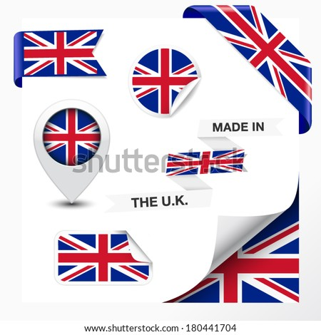 Made in The U.K. collection of ribbon, label, stickers, pointer, badge, icon and page curl with United Kingdom flag on design element. Vector EPS 10 illustration isolated on white background. - stock vector