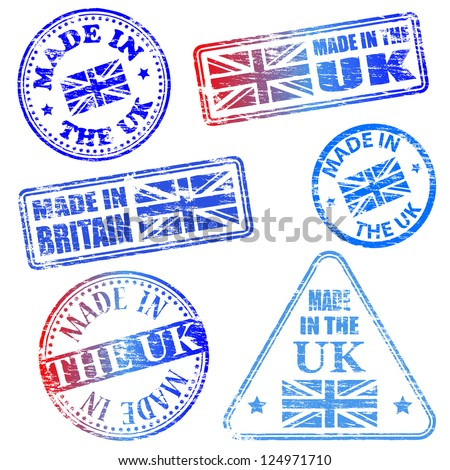 Made in the UK. Rubber stamp vector illustrations - stock vector